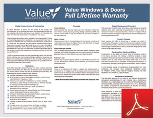 Value  Windows Doors warranty certificate