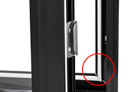 Value casement window Weather stripping close up hardware